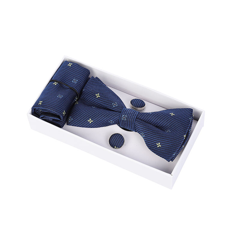 Ready to ship hand made polyester men's bowtie +hanky/pocket square+cufflink in white gift box nice fashion bowtie set