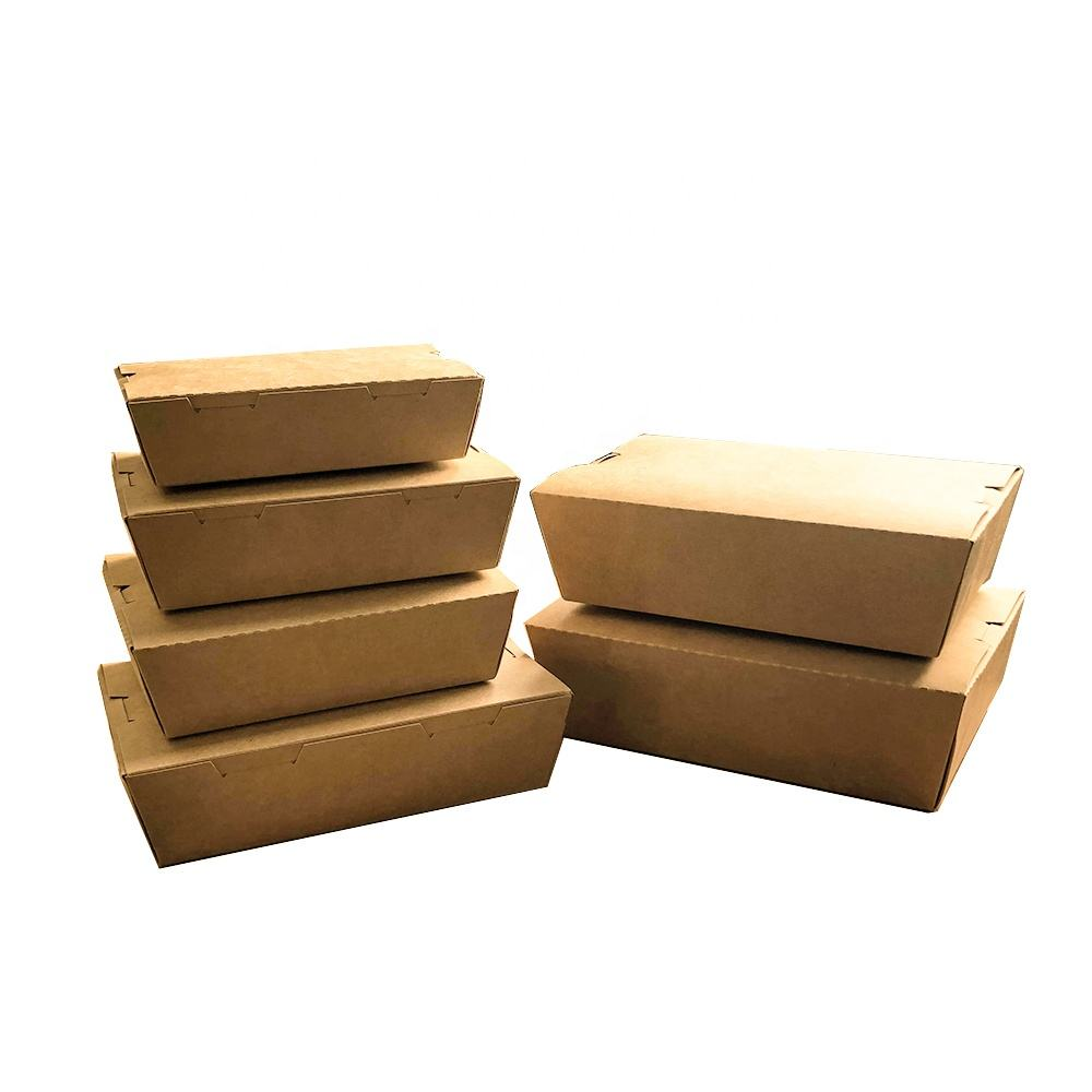 kraft paper packing box disposable kraft paper box kraft paper packaging box for salad fast food fried chicken