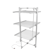 Balcony 3 tier electric heated drying rack folding retractable clothesline