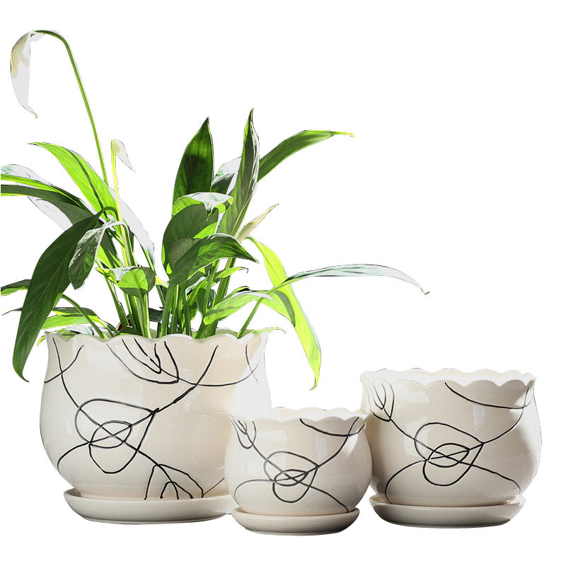 Hot selling 3pcs ceramic flower pot set/Wholesale ceramic flower pot cheap price