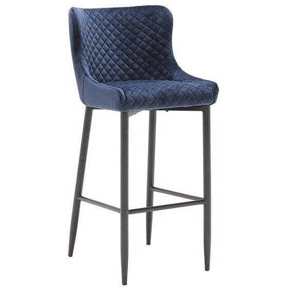 Luxurious elegant pu leather chair velvet high bar stool bar chair counter chair with metal legs
