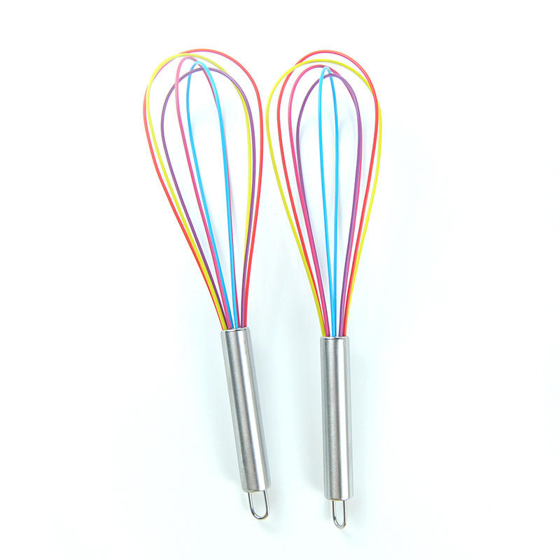 cheap price colorful 10'' silicone egg whisk with Stainless Steel Handles for Amazon
