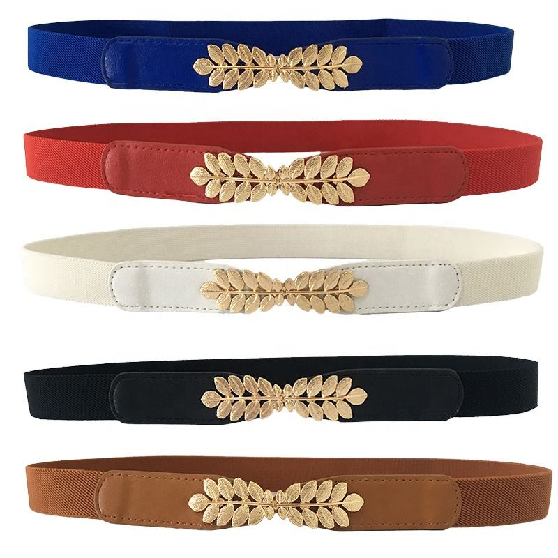 Gold Leaves Buckle Women Belts Elastic Ladies Fashion Wide Belts for Dress Waistband
