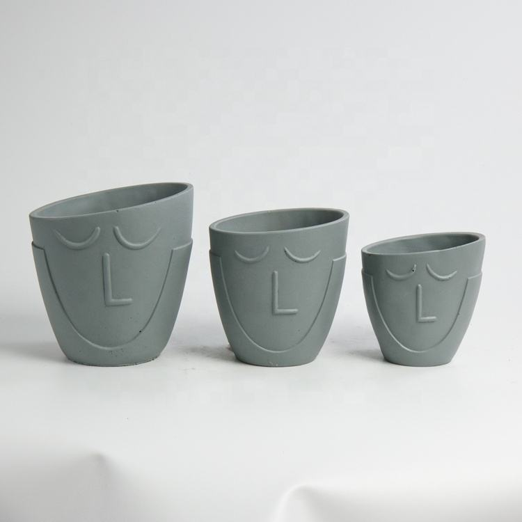 Cartoon Succulent Flowerpot Grey Small Cement Face Figure Planters Pot