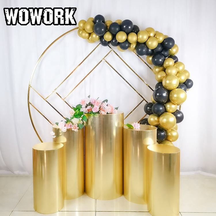 2021 WOWORK new style fashion white Round Arch Party Wire Mesh Wall Screen circle Backdrops for outdoor indoor wedding decor