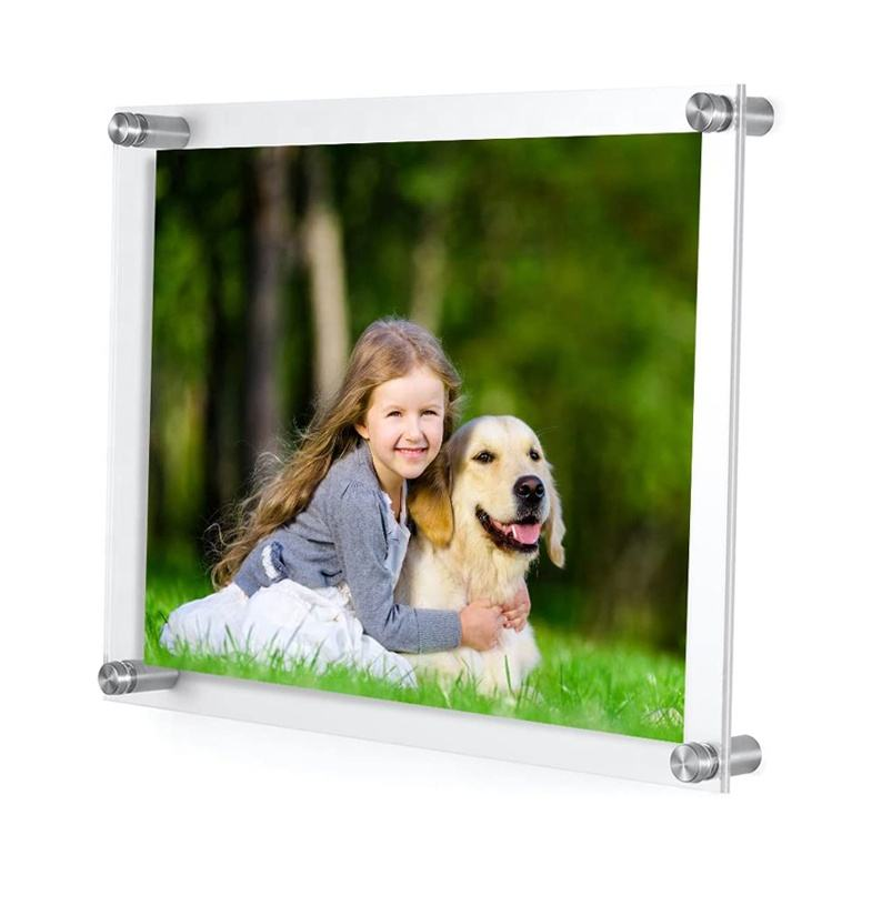 Transparent Wall Mounted Acrylic Picture Frames 8x10 Photo Frames With Standoffs Lucite Plexi Frame