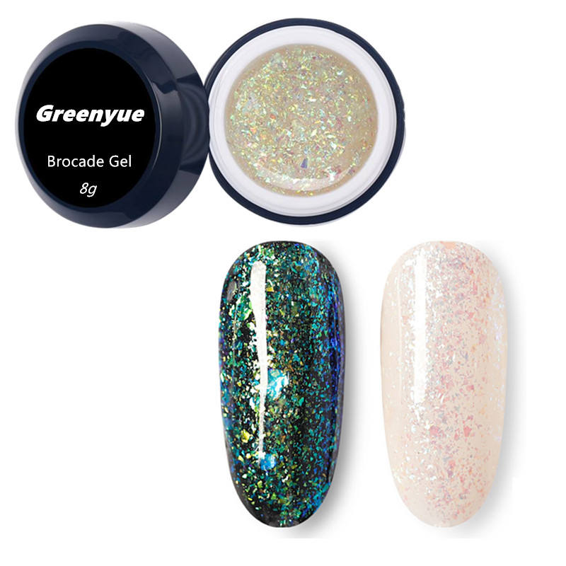 Greenyue Beste Verkauf Produkte 15ml Private Label Salon Kosmetik Brokat Glitter Gel Nagellack für <span class=keywords><strong>Nagel</strong></span> Salon