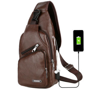 Best Verkopende Product Custom Waterdicht Pu Lederen Messenger Usb Sling Bag Mannen Crossbody Borst Bag
