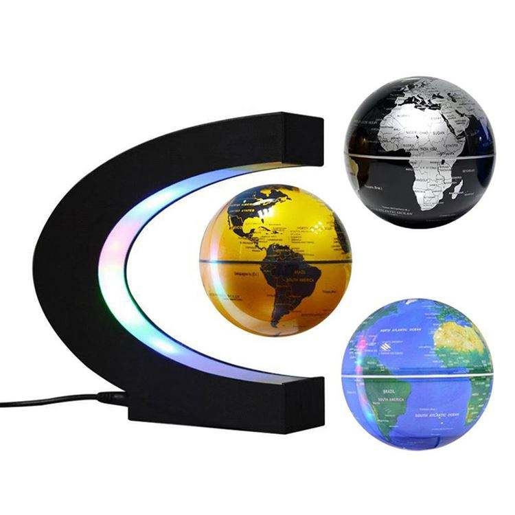 Floating Globe with LED Lights C Shape Magnetic Levitation Floating Globe Magnetic Mysteriously Suspended in Air World Map