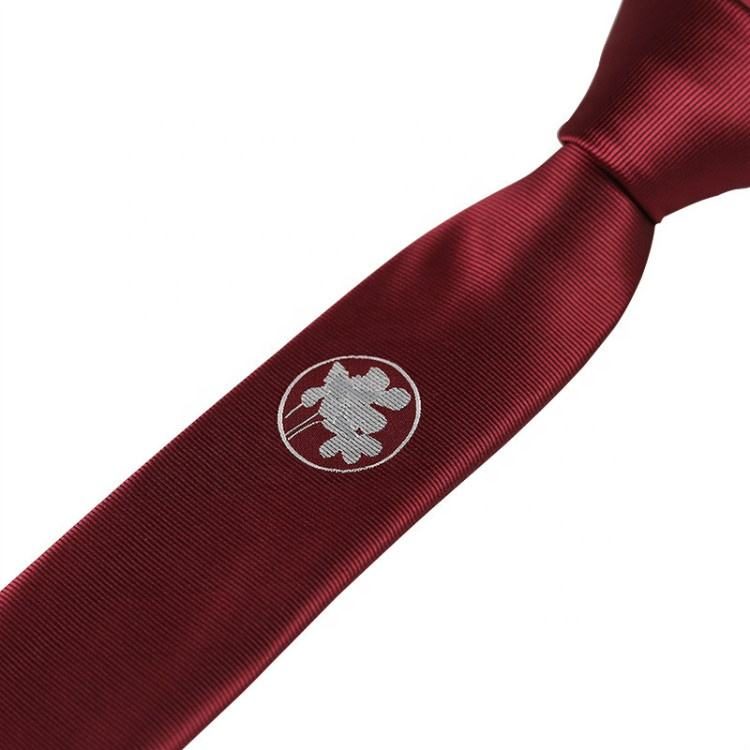 Factory custom embroidered personalized logo solid plaid skinny 5 cm plain skinny necktie ties for men