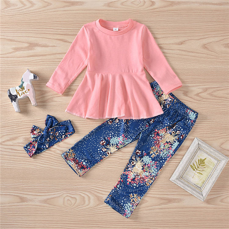 Girls Clothes Sets 2pcs Toddler Kids Girls Ruffle Dress Tops Leggings Pants Girls Fall Outfits Children Clothing Set