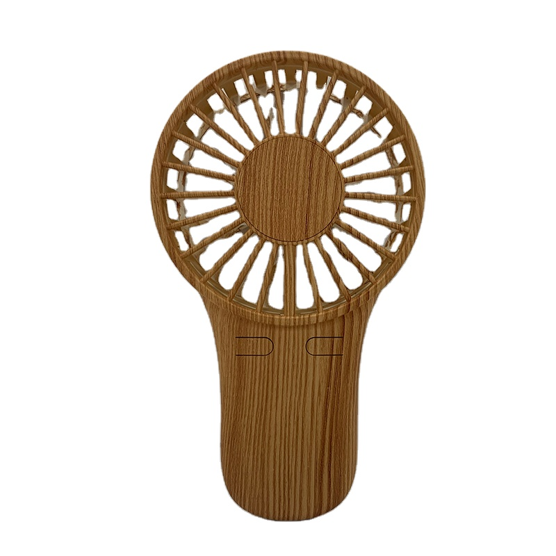 2020 hand usb rechargeable fan wood grain handy fan