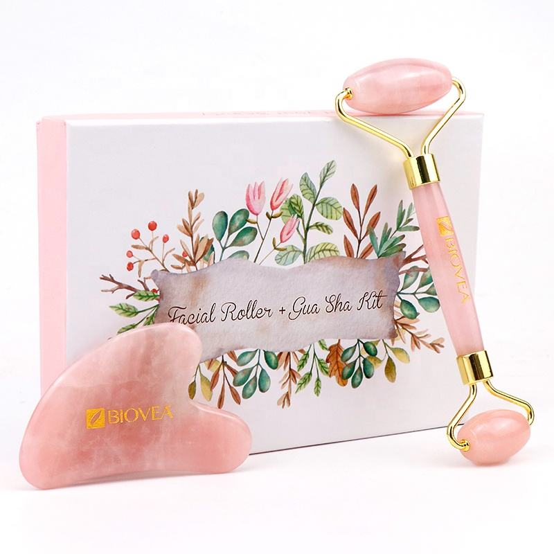 Hot Selling OEM High Quality Private Label Eye Massage Roller Anti Aging Pink Rose Quartz Jade Roller with Gift Box