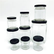 Round 12 oz Airtight Glass Jars with Black Metal Lid - Canning Jars for Jam, Honey, Spices