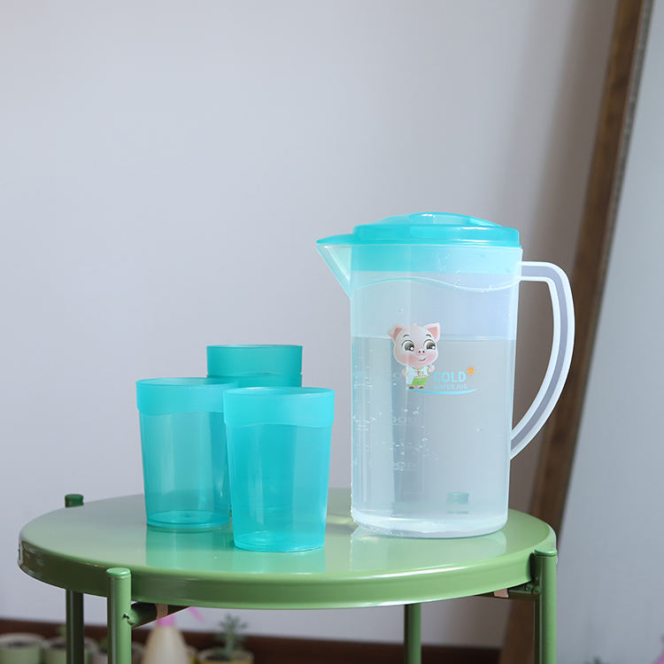 1.8L plastic cool water jug with 4 cups full set