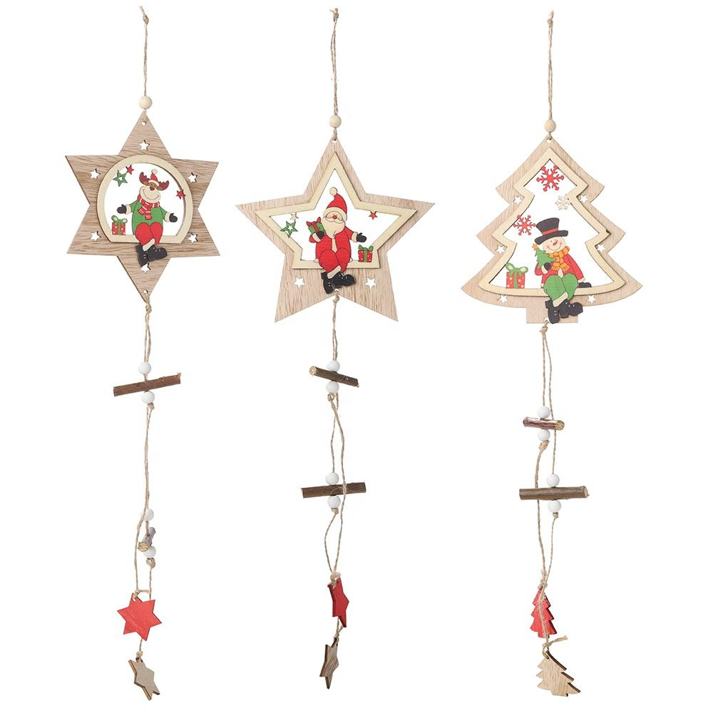 Pentagram festival decoration supplies toy wooden pendant christmas tree ornaments