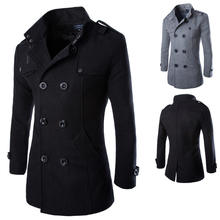 trendy overcoat men woolen coat men long mens coat Retro Style male clothing