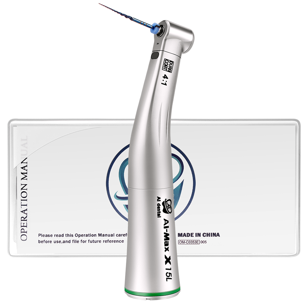 China wholesale low speed Ti-Max X15L dental handpiece contra angle 4:1 reduction E-type single spray with optic for CA bur