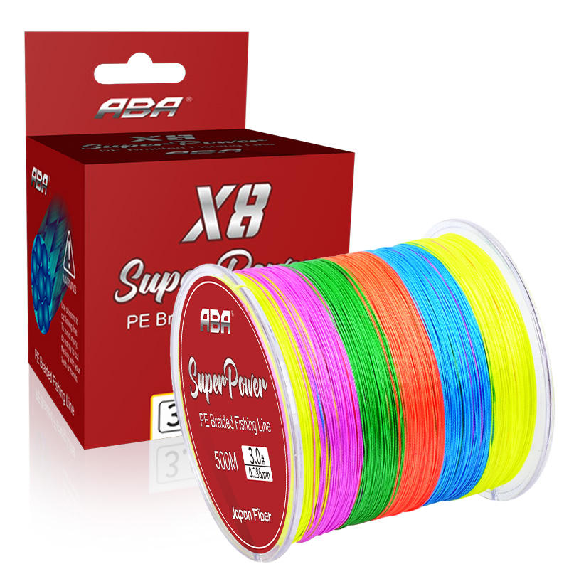 ABA 8 Strands 500m Lake Sea fishing Multi color PE Multifilament Braided Fishing Line