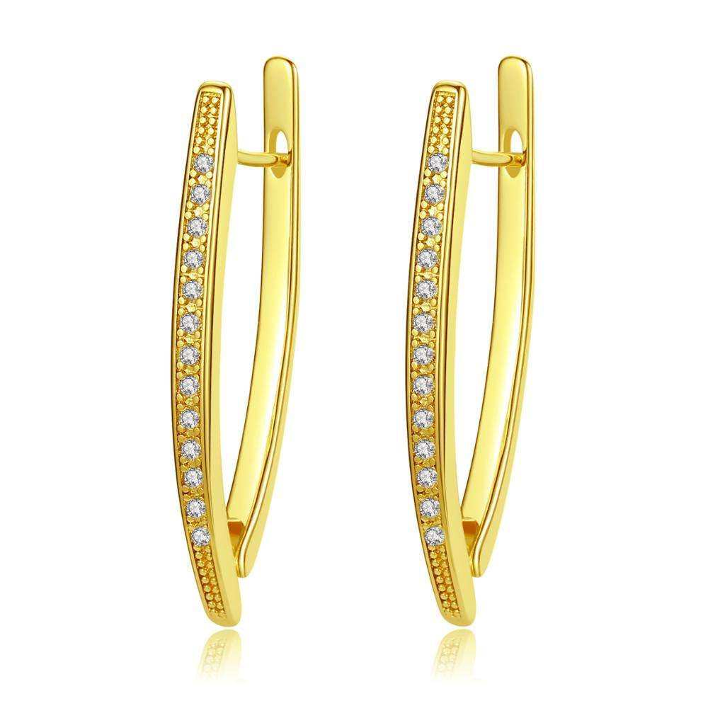 Fashion simple ladies v-shaped full zircon hoop earring Large v-shaped luxury earrings