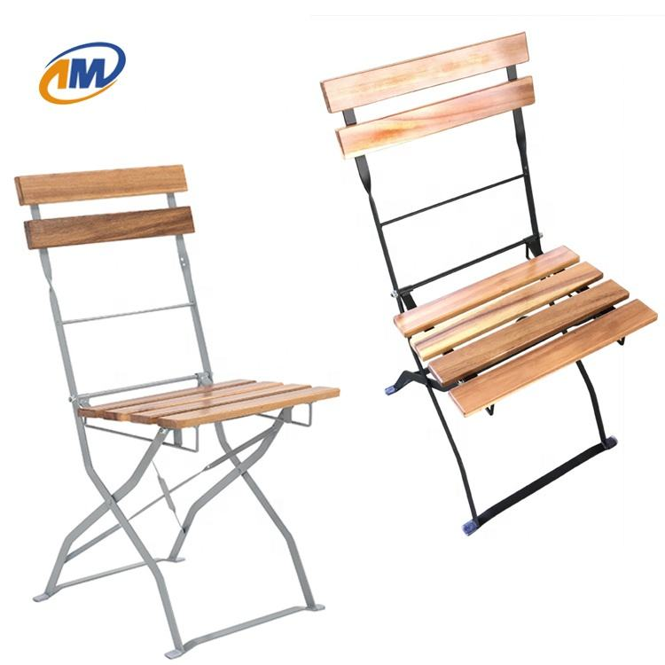 Folding Metal Steel with Acacia Wood Slat Beer Garden Table Chair Factory