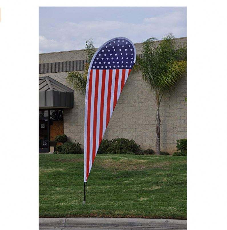 11ft x 3.3ft American Flag Teardrop Flag Set - Feather Banner Flag - INCLUDES 15ft POLE KIT AND HARDWARE