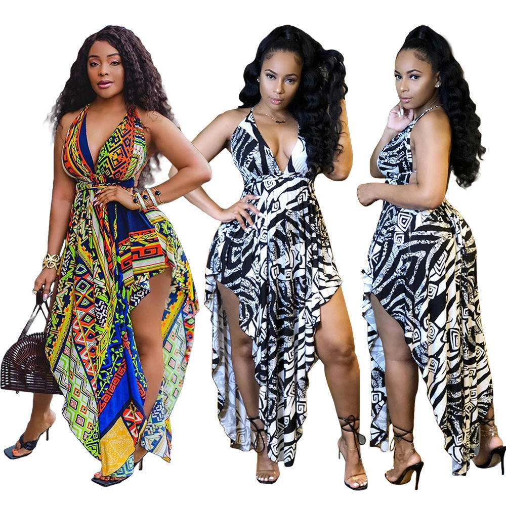 Womens Summer Dresses Irregular High Low Printed Fashion Elegant Casual Cami Long Dress for Ladies Female Womens Clothes RS00354