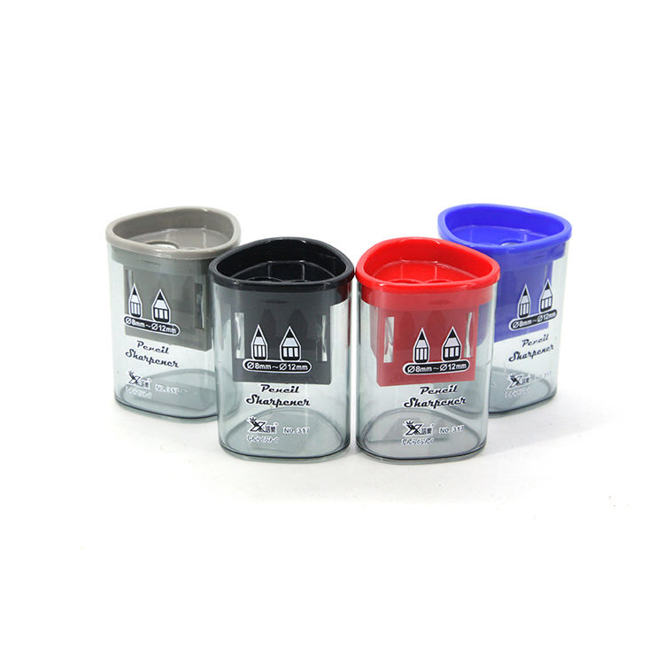 Wholesale Custom Logo Transparent Double Hole Pencil Sharpener With Big Container 12mm & 8mm