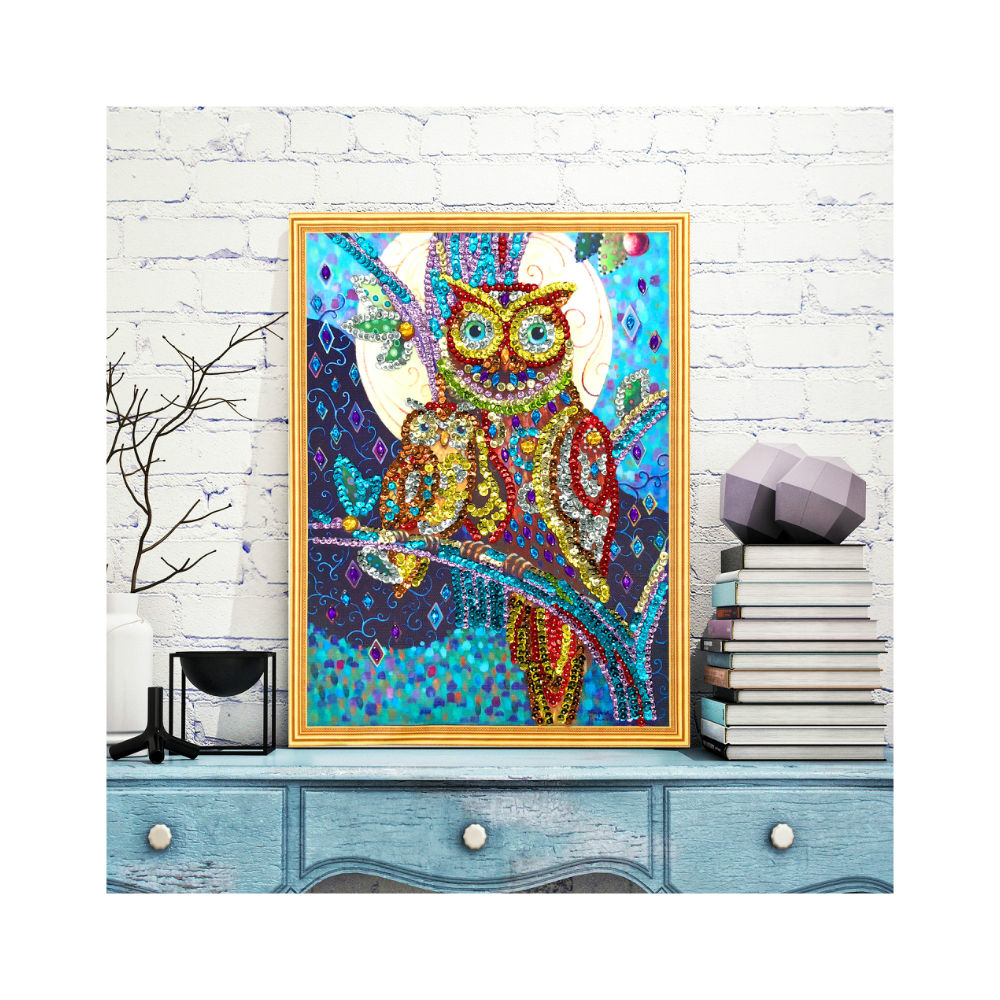 Canvass painting Europe Style Owl Design Diy Sequins Diamond paintings wall arts 5d Special Crystal Beads LPH02