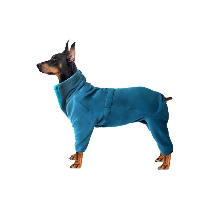 Four Legged Plain Cold Weather Warm Windproof Fleece Cotton Big Pet Puppy Dog Cloth Clothes Coat with High Collar for big dogs