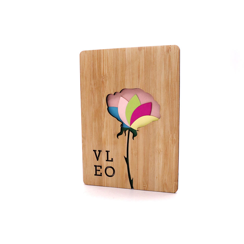 wholesale custom wooden cover printing paper laser cut greeting card