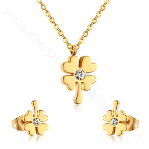 New arrival fashion lady jewelry gift 18K gold plated lucky clover stainless steel necklace and earrings set