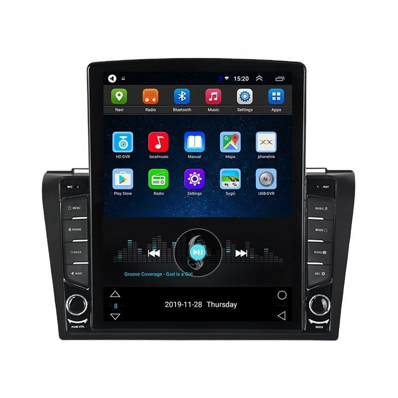 MEKEDE Tesla Verdical Android IPS 2.5D DSP Car DVD Player สำหรับ MAZDA3 2004-2009 Mazda 3 1 + 16GB 4G LTE GPS BT สเตอริโอ SWC