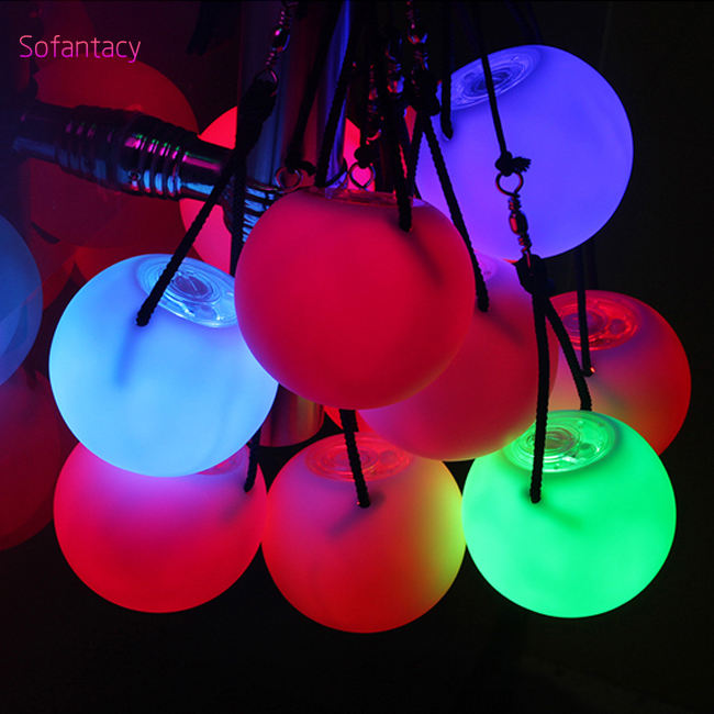 shenzhen factory soft PVC Glowing juggling LED poi balls