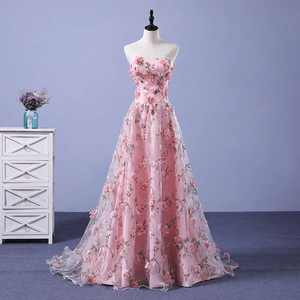 2020 Hot Selling Wedding Dresses Popular Wedding Dress Bridal Gowns Sexy Strapless Floral Pink Wedding Gowns