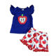 back to school baby girl boutique clothing set OEM apple embroidered adorable short set