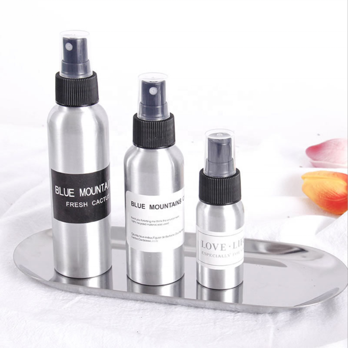 Factory direct supply cheap aluminum spray bottle for makeup water and fine mist hairdressing