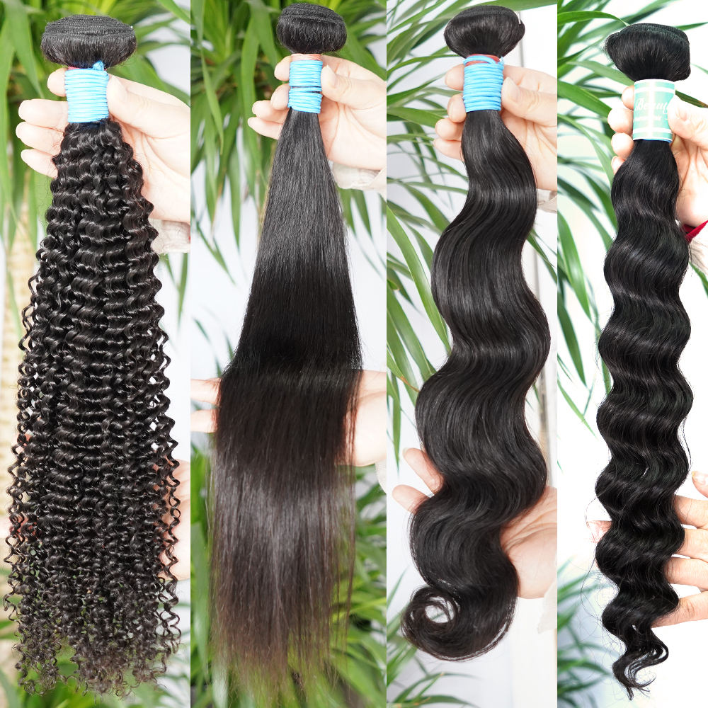 High Quality With Lace Frontal Closure Weave Raw Mink Brazilian Bundles Cuticle Aligned Virgin Human Hair Extension