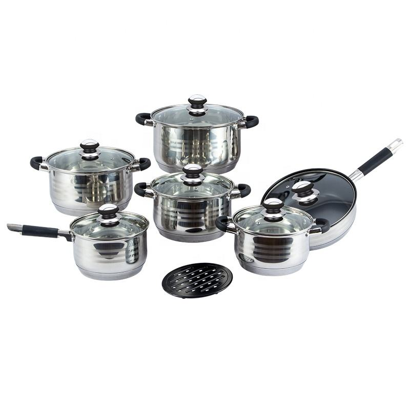 Stainless steel 13 pcs cooking pots nonstick frypan cookware set with glass lid