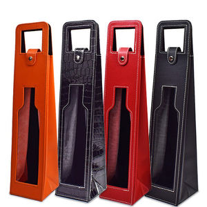 Wholesale Wine Packaging Box Insulated PU Leather Neoprene Wine Bottle Carrier Tote Bag With Window