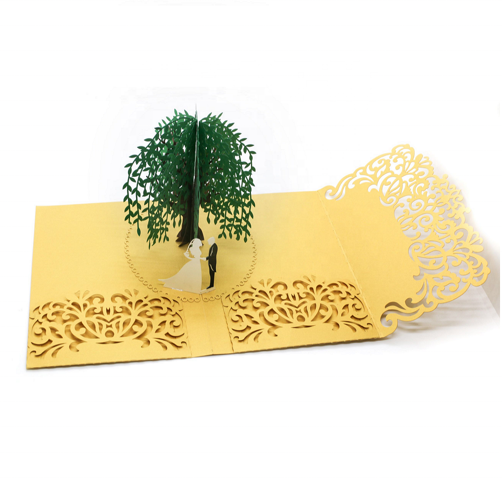 2020 New Design Custom Luxury Laser Cut 3D Handmade Pop Up Wedding Invitation Card with Envelope (size:5*7 inch)
