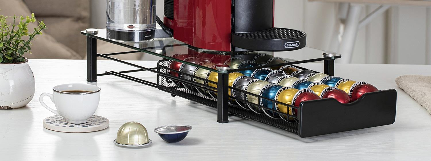 Fdit Coffee Pod Storage Spinning Holder Capsule Stand Coffee Pod Carousel with 40 Pieces Pods for Tassimo Nespresso