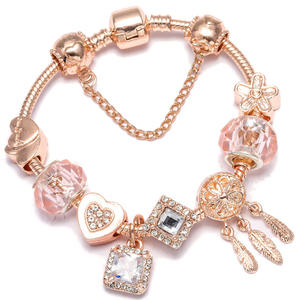 2020 Handmade DIY Cute Crystal Beaded Heart Charm Bracelets Rhinestone Fit Fine Dreamcatcher Charm Bracelet