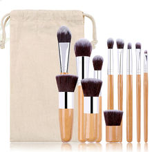 2020 Low MOQ wooden handle vegan make up brushes customized logo