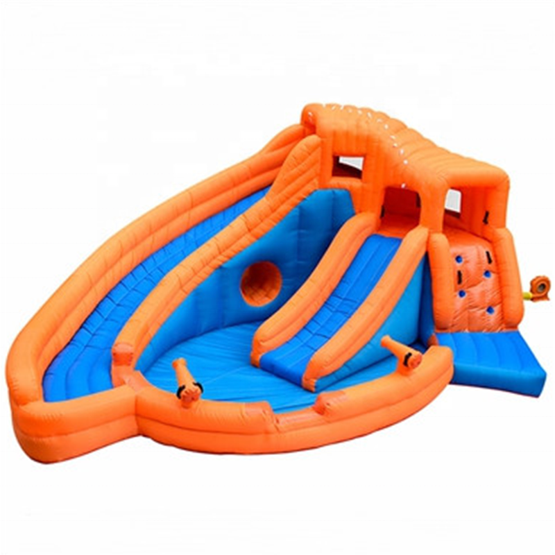 Outdoor Commercial Used Big Inflatable Water Slides For Children Double Lane Croco Inflatable Slide Pool For Sale
