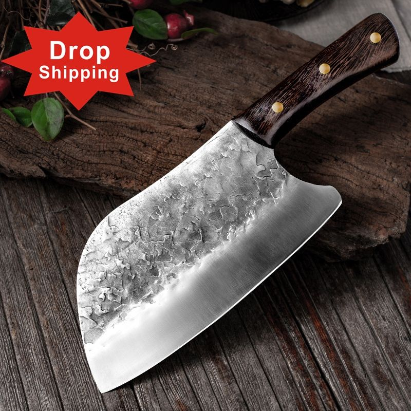 Dropshipping Handmade Full Tang Forged High-carbon Steel Wenge wood handle Kitchen Knives China Chef Cleaver Butcher knife