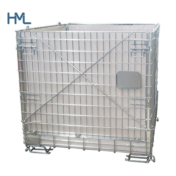 Hot sale warehouse logistic zinc returnable foldable stacking pet preform storage wire container