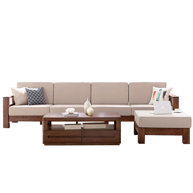 Cheap Price List Modern Designs Home Living Room Furniture Beige Wooden Sectional Sofa Set