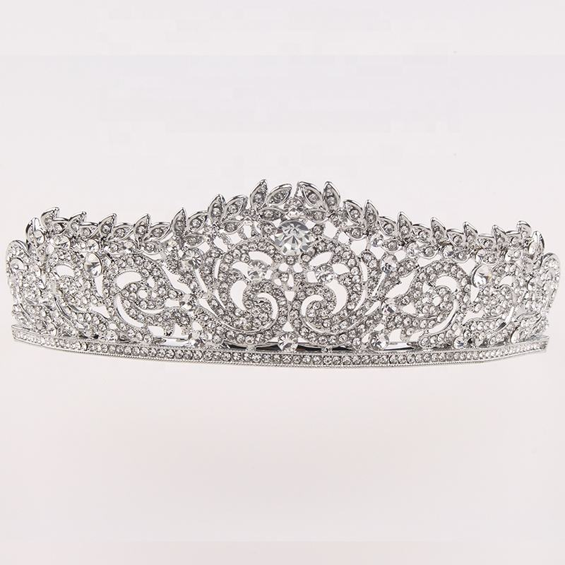 Clear Rhinestone Queen Crown Bride Hair Tiara Women Accessories Silver Tiara Crown