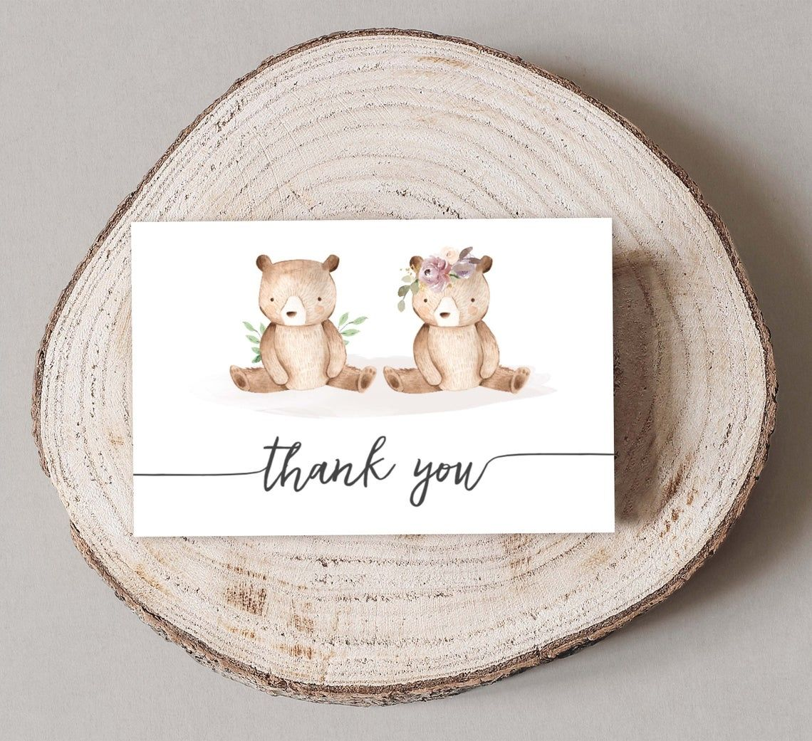 Cute Twin Boy And Girl Baby Bear Shower Greeting Card Customized Own Brand Thank You Card